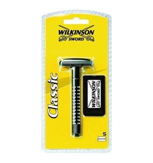 WILKINSON RASOIO DI SICUREZZA DA BARBA MONOLAMA CLASSICO + 5 LAME OMAGGIO - prodotti per parrucchieri - hairevolution prodotti